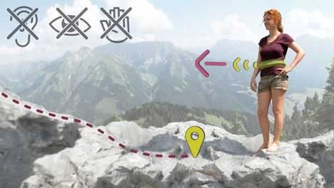 Kompass runt midjan på vandringen?